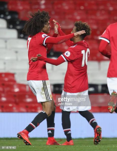 Tahith Chong of Manchester United U23s celebrates scoring their first goal during the Premier League 2 match between Manchester United U23s and...