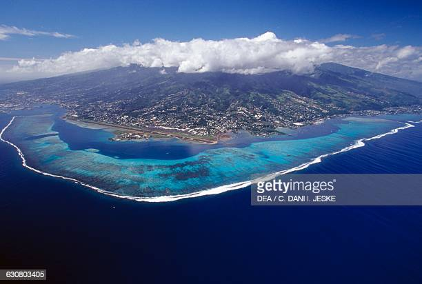 Tahiti aerial view Society islands French Polynesia