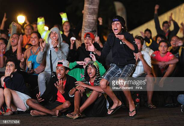 Tahiti fans celebrate in the fan zone during the FIFA Beach Soccer World Cup Tahiti 2013 Group A match between Tahiti and Spain at the Tahua To'ata...