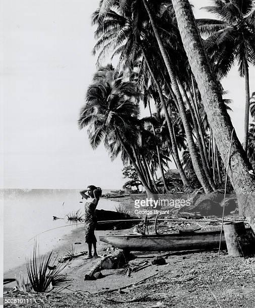 Tahiti of memory Willowy girl palm trees and warm sea