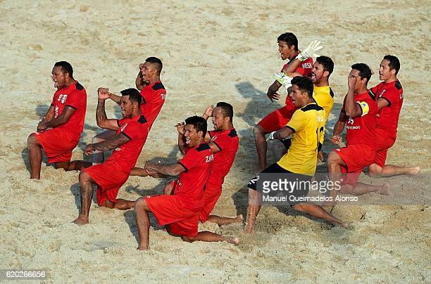 Tahiti perform the Haka before the day one of the Beach Soccer Intercontinental Cup 2016 match between Tahiti and Poland at Dubai International...