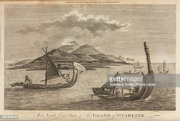 Tahitian boats and a northeast view of Otaheite during Captain Cook's second Pacific voyage From 'Complete History of Captain Cook's First Second and...