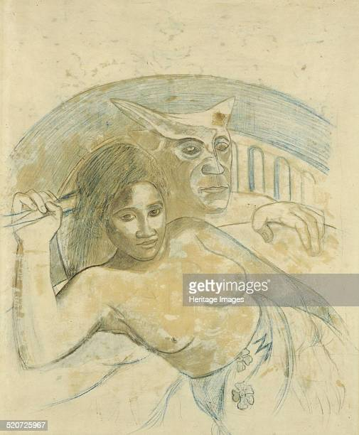 Tahitian Woman with Evil Spirit Private Collection