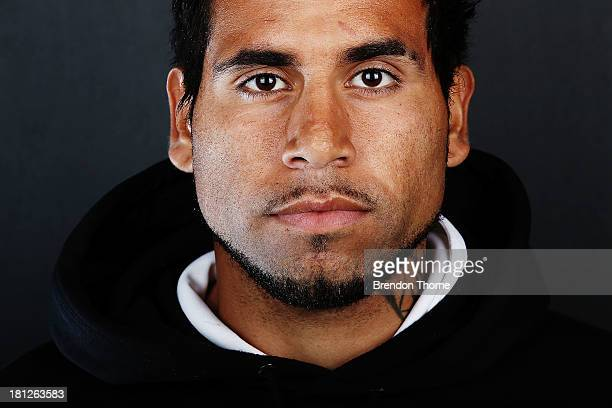 Tahj Minniecon of the Wanderers poses during a 2013/14 Western Sydney Wanderers ALeague portrait session at Fox Sports Studios on September 20 2013...