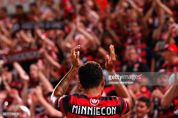 Tahj Minniecon of the Wanderers thanks the crowd after the round 14 ALeague match between the Western Sydney Wanderers and Sydney FC at Parramatta...