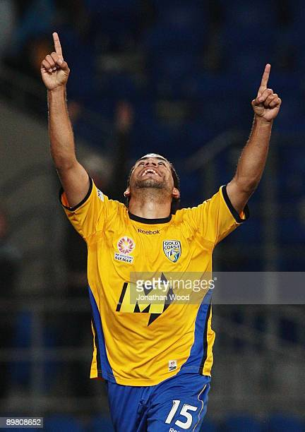 Tahj Minniecon of United celebrates after scoring a goal during the round two ALeague match between Gold Coast United and North Queensland Fury at...