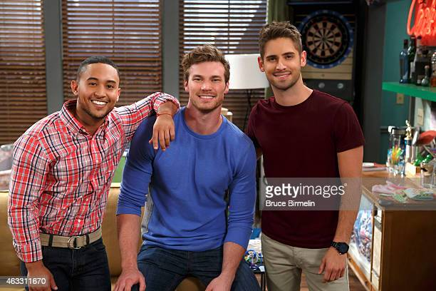 DADDY Tahj Mowry Derek Theler and JeanLuc Bilodeau on set filming the 4th season of Baby Daddy