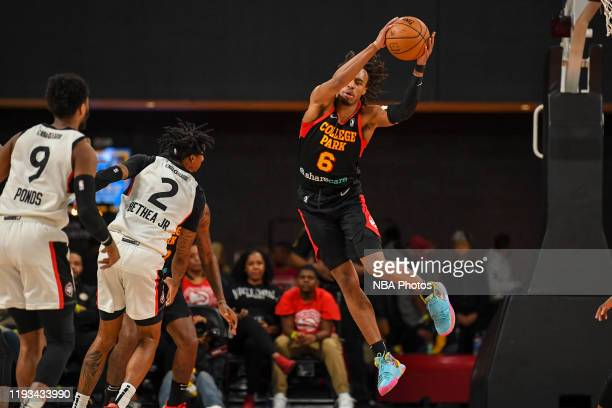 Tahjere McCall of the College Park Skyhawks grabs the ball against the Raptors 905 on January 12 2020 at The Gateway Center Atlanta GA NOTE TO USER...