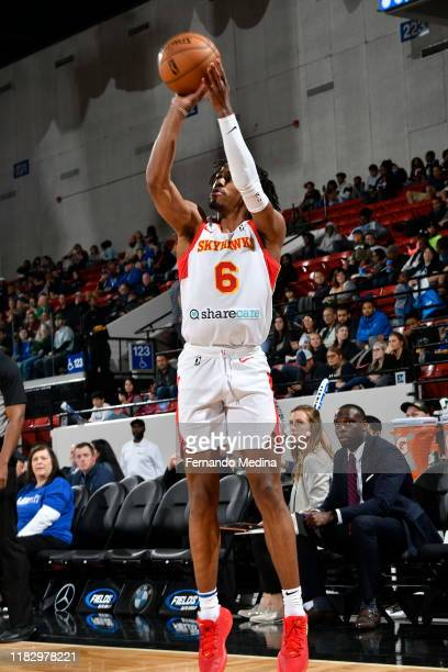 Tahjere McCall of the College Park Skyhawks shoots against the Lakeland Magic during the game on November 15 2019 at RP Funding Center in Lakeland...
