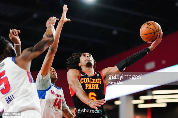 Tahjere McCall of the College Park Skyhawks shoots over the Grand Rapids Drive during the fourth quarter an NBA GLeague game on December 8 2019 at...