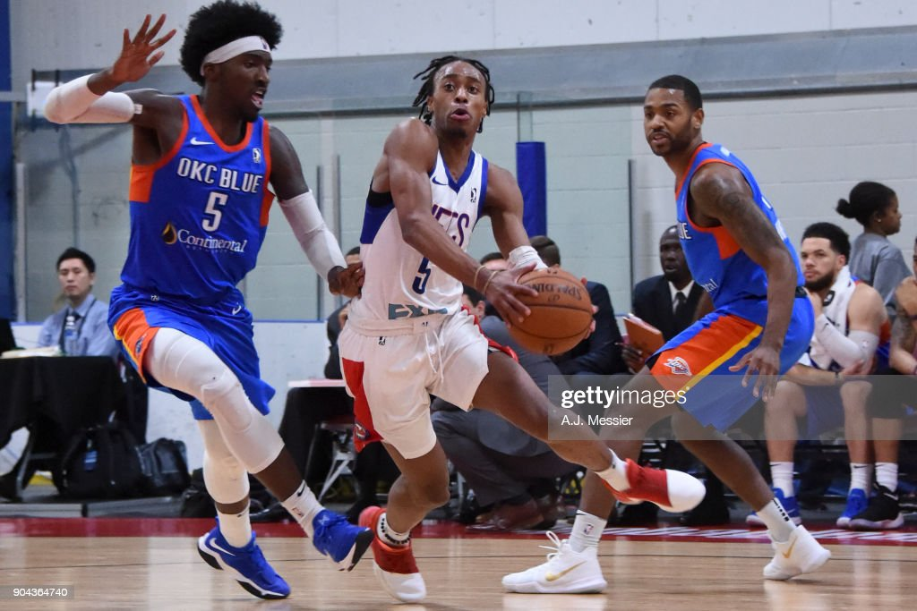 Tahjere McCall #5 of the Long Island Nets handles the ball against the Oklahoma City Blue at NBA G League Showcase Game 18 on January 12, 2018 at the Hershey Centre in Mississauga, Ontario Canada.