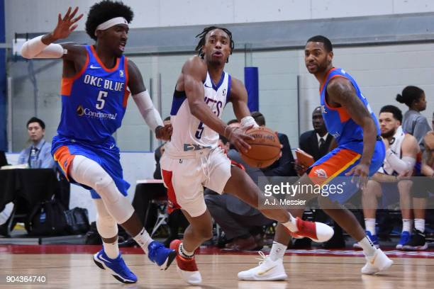 Tahjere McCall of the Long Island Nets handles the ball against the Oklahoma City Blue at NBA G League Showcase Game 18 on January 12 2018 at the...
