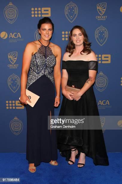 Tahlia Mcgrath and AmandaJade Wellington arrive at the 2018 Allan Border Medal at Crown Palladium on February 12 2018 in Melbourne Australia
