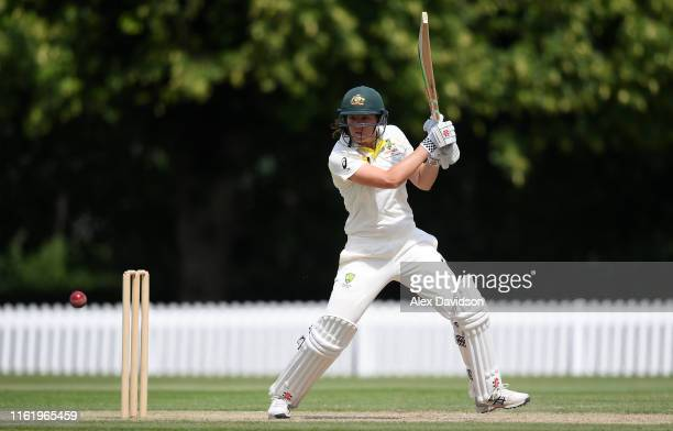Tahlia McGrath of Australia A bats during Day Three of the International Friendly match between England Women and Australia A Women at Millfield...