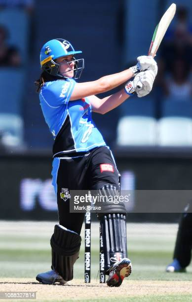 Tahlia McGrath of the Adelaide Strikers bats during the Women's Big Bash League match between the Adelaide Strikers and the Sydney Sixers at Adelaide...