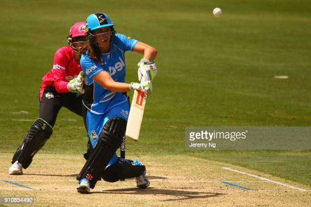 Tahlia McGrath of the Striker plays the ramp shot during the Women's Big Bash League match between the Adelaide Strikers and the Sydney Sixers at...