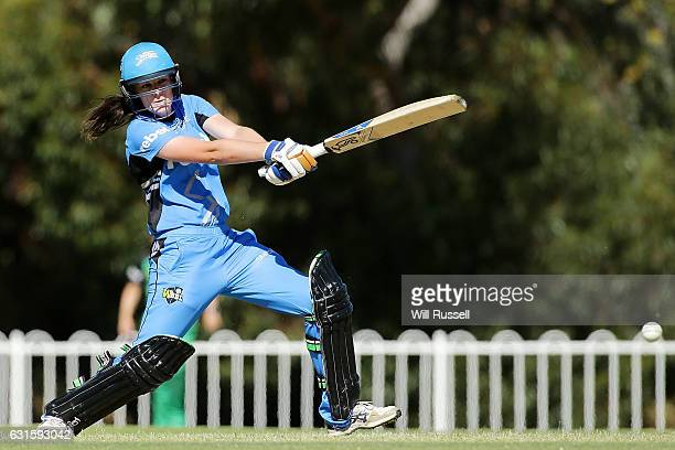 Tahlia McGrath of the Strikers bats during the Women's Big Bash League match between the Adelaide Strikers and the Melbourne Stars at Lilac Hill on...