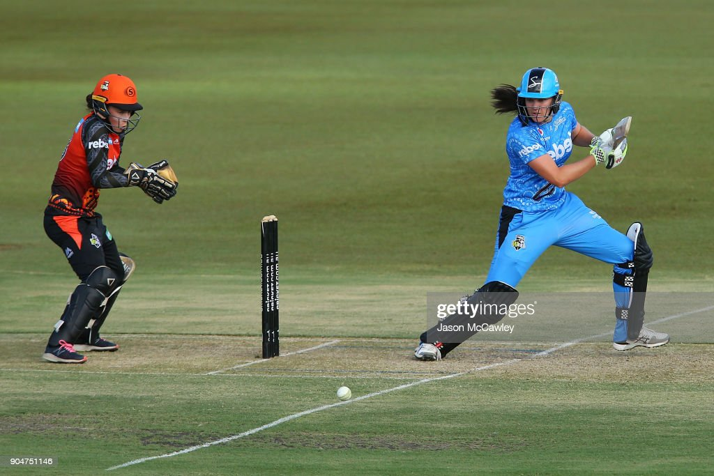 Tahlia McGrath of the Strikers bats during the Women's Big Bash League match between the Perth Scorchers and the Adelaide Strikers at Traeger Park on January 14, 2018 in Alice Springs, Australia.