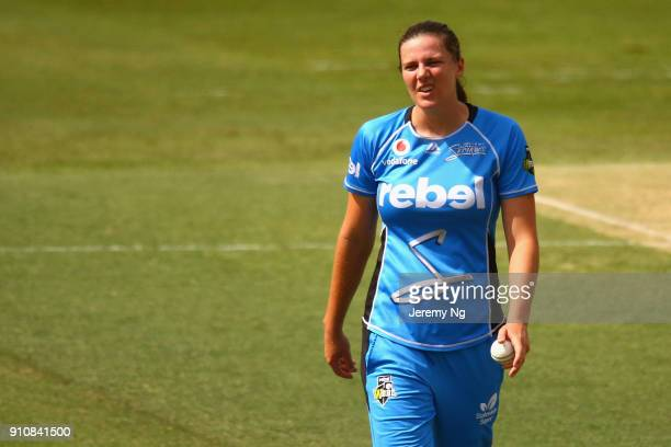 Tahlia McGrath of the Strikers reacts during the Women's Big Bash League match between the Adelaide Strikers and the Sydney Sixers at Hurstville Oval...
