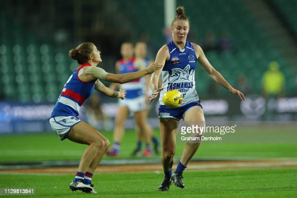 Tahlia Randall of the Kangaroos kicks during the round three AFLW match between the North Melbourne Kangaroos and the Western Bulldogs at the...