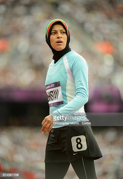 Tahmina Kohistani, Afghanistan's only female athlete during heat 4 of qualifications for the Women's 100m Athletics, Day 7 at the Olympic Stadium,...