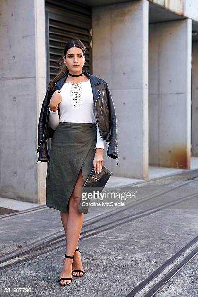 Tahnee Atkinson wearing Blk Denim jacket Sir the Label skirt and Hansen Gretel top arrives ahead of the Misha Collection show at MercedesBenz Fashion...