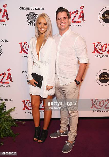 Tahnee Sims and Johnny Ruffo pose during the Cirque du Soleil KOOZA Sydney Premiere at The Entertainment Quarter on August 25 2016 in Sydney Australia