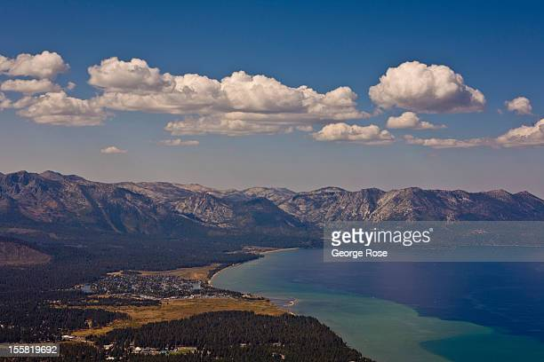 Tahoe Keys is viewed from the Heavenly Ski Resort observation tower on September 28 in South Lake Tahoe, California. Lake Tahoe, straddling the...