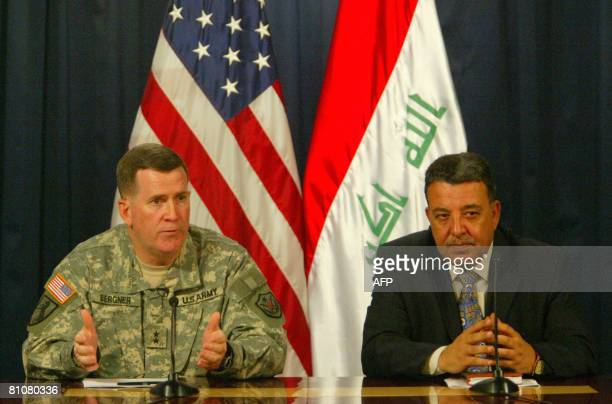 Tahseen alSheikhlu Civilian Spokesman for Operation 'Fardh alQanoon' or 'Implementing the Law' and US Maj Kevin Bergner spokesman for the Multi...