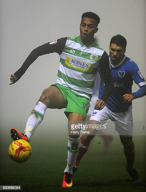 Tahvon Campbell of Yeovil Town controls the ball during the Sky Bet League Two match between Yeovil Town and Portsmouth at Hush Park on December 30...