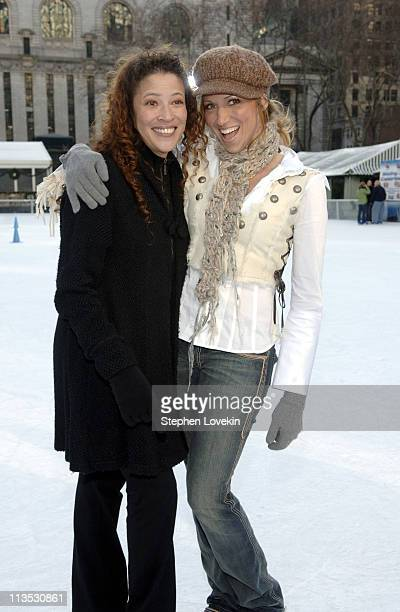 Tai Babilonia and Deborah Gibson during The Stars of Skating With Celebrities at Bryant Park at Bryant Park in New York City New York United States
