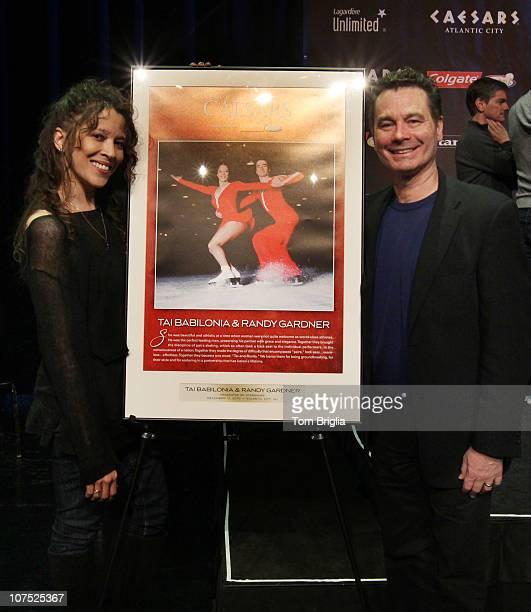 Tai Babilonia and Tandy Gardner attend press conference announcing the skating cast for The Caesar's Tribute 'A Salute to the Golden age of American...