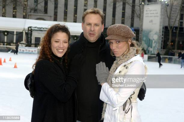 Tai Babilonia Dave Coulier and Deborah Gibson during The Stars of Skating With Celebrities at Bryant Park at Bryant Park in New York City New York...