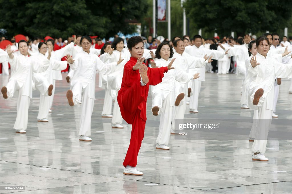 Tai Chi Enthusiasts Perform Tai Chi In Pingliang