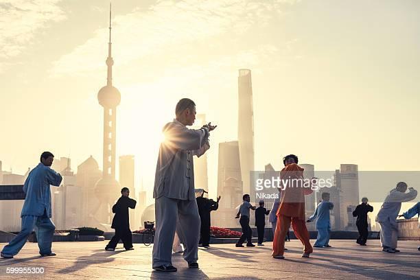 Tai Chi on The Bund , Shanghai, China