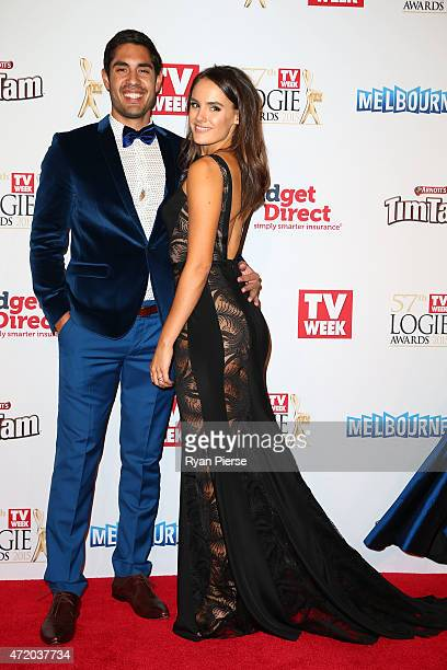 Tai Hara and Cassie Howarth arrive at the 57th Annual Logie Awards at Crown Palladium on May 3 2015 in Melbourne Australia