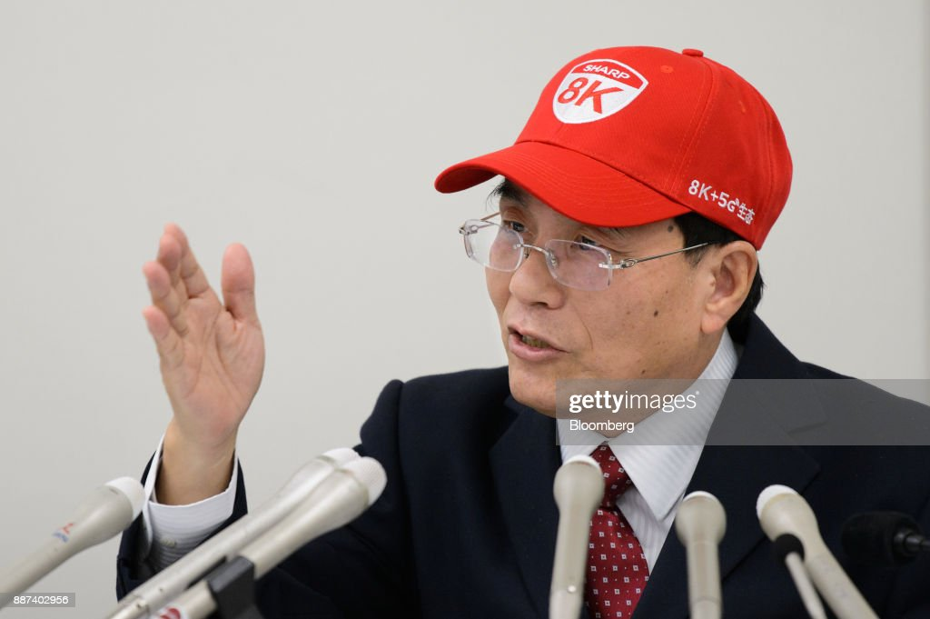 Tai Jeng Wu, president and chief executive officer of Sharp Corp., gestures as he speaks at a news conference in Tokyo, Japan, on Thursday, Dec. 7, 2017. Taisaid hell remain in the job while seeking a successor in the future, backing away from a promise to step down after returning the company to the Tokyo Stock Exchanges First Section. Sharp was acquired byFoxconn Technology Groupin August 2016 and Tai was sent by the Taiwanese manufacturer to oversee the Japanese electronics makers turnaround. Photographer: Akio Kon/Bloomberg via Getty Images