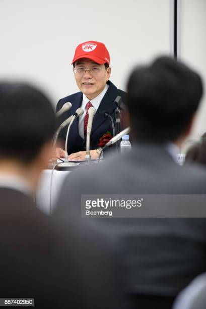 Tai Jeng Wu president and chief executive officer of Sharp Corp speaks at a news conference in Tokyo Japan on Thursday Dec 7 2017 Taisaid hell...