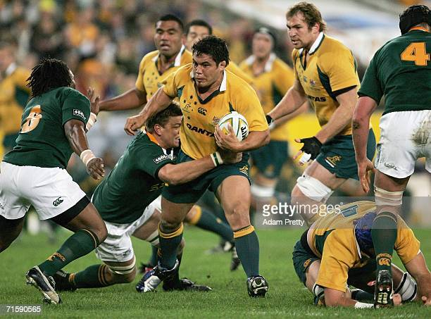 Tai McIsaac of the Wallabies runs during the Tri Nations series second Mandela plate match between Australia and South Africa at Telstra Stadium...