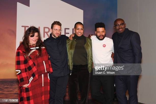 Tai Shani Lawrence Abu Hamdan Helen Cammock and Oscar Murillo pose with Edward Ennninful after being announced as the joint winners of Turner Prize...