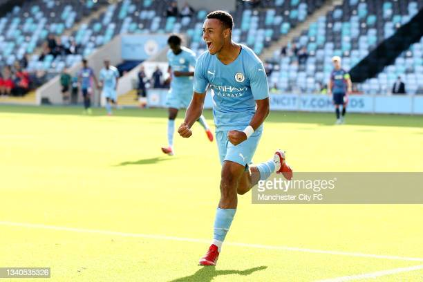 Tai Sodje of Manchester City celebrates after scoring their side's third goal during the UEFA Youth League match between Manchester City and RB...