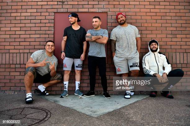 Tai Tuivasa Damien Brown of Australia Alexander Volkanovski of Australia Mark Hunt of New Zealand and Tyson Pedro of Australia pose for a portrait...