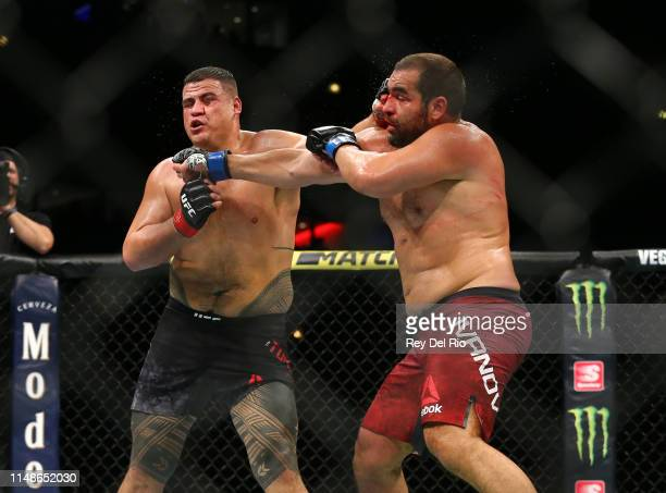 Tai Tuivasa exchange punches with Blagoy Ivanov at United Center on June 8 2019 in Chicago Illinois