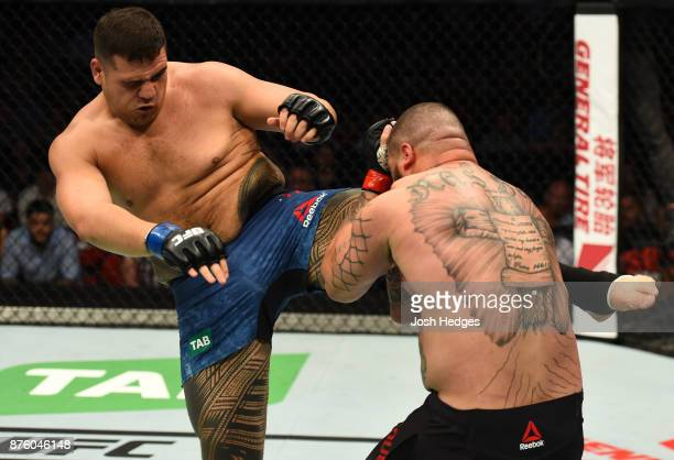 Tai Tuivasa kicks Rashad Coulter in their heavyweight bout during the UFC Fight Night event inside the Qudos Bank Arena on November 19 2017 in Sydney...