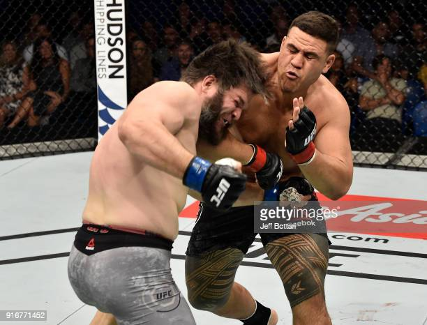 Tai Tuivasa of Australia elbows Cyril Asker of France in their heavyweight bout during the UFC 221 event at Perth Arena on February 11 2018 in Perth...