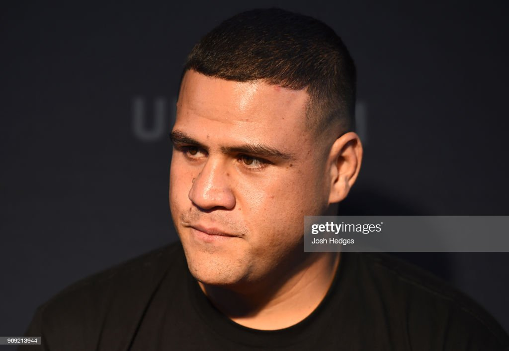 Tai Tuivasa of Australia interacts with media during the UFC 225 Ultimate Media Day at the United Center on June 7, 2018 in Chicago, Illinois.