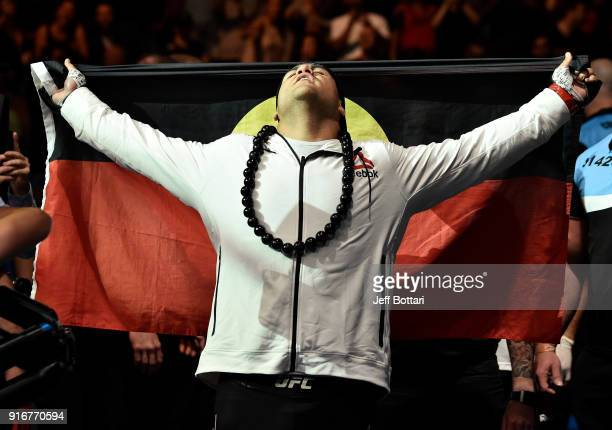 Tai Tuivasa of Australia prepares to enter the Octagon before facing Cyril Asker of France in their heavyweight bout during the UFC 221 event at...