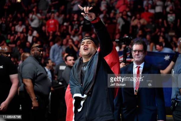 Tai Tuivasa of Australia prepares to enter the Octagon prior to his heavyweight bout against Blagoy Ivanov of Bulgaria during the UFC 238 event at...