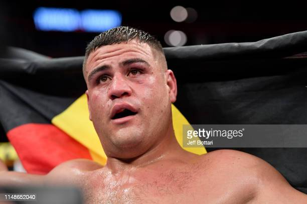 Tai Tuivasa of Australia reacts after the conclusion of his heavyweight bout against Blagoy Ivanov of Bulgaria during the UFC 238 event at the United...