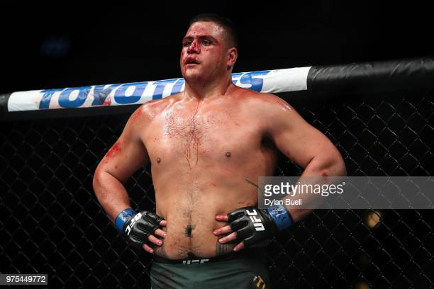 Tai Tuivasa of Australia rests in the second round in his heavyweight bout against Andrei Arlovski of Belarus during the UFC 225 Whittaker v Romero 2...